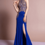 PROM DRESS ROYAL BLUE GOLD GL1519