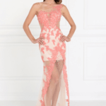 PROM GOWN CORAL/NUDE GL2051