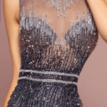 PROM DRESS NAVY GRAY TULLE SEQUIN