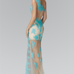 PROM DRESS NUDE TURQUOISE GL2051