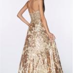 PROM DRESS GOLD BLACK
