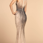 PROM DRESS NAVY CHAMPAGNE GL2555